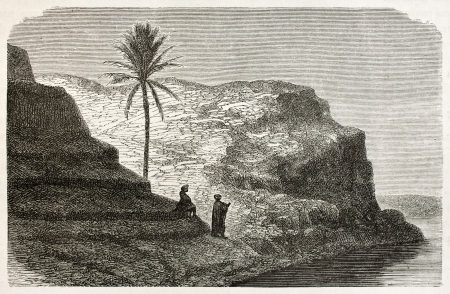 Tikrit old view, along Tigris river, Babylonia. Created by De Bar after Lejean, published on Le Tour du Monde, Paris, 1867