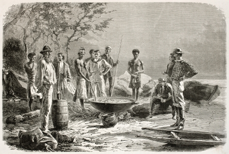 Trepang cooking in New Caledonia (sea cucumber course). Created by Neuville after photo of unknown author, published on Le Tour Du Monde, Paris, 1867