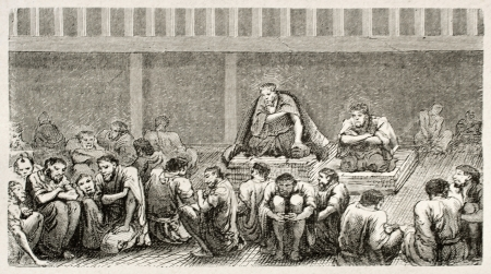 Japanese tribunal old illustration. Created by Crepon, published on Le Tour Du Monde, Ed. Hachette, Paris, 1867 Stock Photo - 15181095
