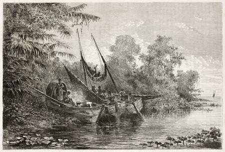 río amazonas: Nativos Tapuyas esperando la marea alta en Amazonas. Creado por Riou, publicado en Le Tour du Monde, París, 1867