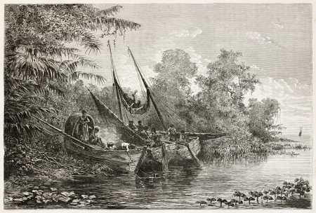 amazon river: Tapuyas natives waiting high tide in Amazon river. Created by Riou, published on Le Tour du Monde, Paris, 1867