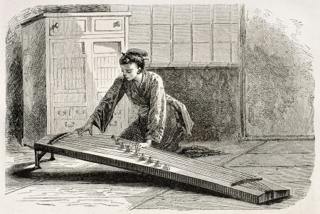 Woman playing Japanese string instrument. Created by Neuville after Roussin, published on Le Tour Du Monde, Ed. Hachette, Paris, 1867 Stock Photo - 15181159