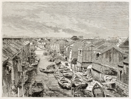 pile dwelling: Channel in Yedo (Tokyo) old view. Created by Therond after photo by unknown author, published on Le Tour Du Monde, Ed. Hachette, Paris, 1867 Editorial