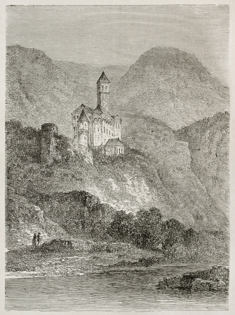 black ancestry: Zwingenberg castle and Neckar river old view, Germany. Created by Stroobant, published on Le Tour Du Monde, Paris, 1867