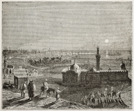 Alexandria nocturnal old view, Egypt. By unidentified author, published on Magasin Pittoresque, Paris, 1840 Stock Photo - 15204005