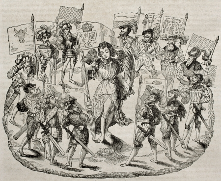 allegoric: Alliance between France and Swiss cantons, old allegoric print. Created by Watt (Hennin collection), published on Magasin Pittoresque, Paris, 1840