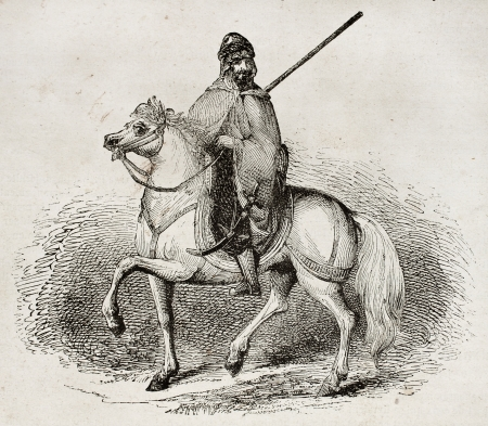 Arab knight old illustration. By unidentified author, published on Magasin Pittoresque, Paris, 1840