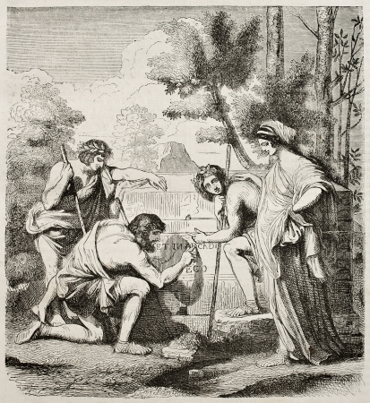 Les Bergers dArcadie (Arcadia sheperds) engraved reproduction, from painting kept in Louvre museum. Original created by Nicolas Poussin. Published on Magasin Pittoresque, Paris, 1840