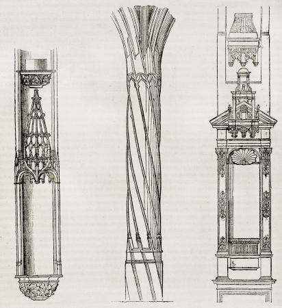 architectonic: Architectonische details van Saint-Nicolas-des-champs, Saint-Severin en Saint-Eustache, Parijs. Door onbekende auteur, gepubliceerd op Magasin Pittoresque, Parijs, 1840 Redactioneel