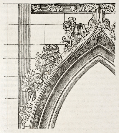 Arched portal of Saint-Germain l'Auxerrois, Paris. By unidentified author, published on Magasin Pittoresque, Paris, 1840 Stock Photo - 15203991