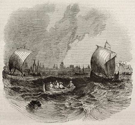 mare agitato: Astrakhan vecchia vista dal mare, a sud della Russia. Per autore non identificato, pubblicato il Magasin Pittoresque, Parigi, 1840