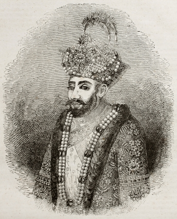 turban: Old engraved portrait of Zahir ad-Din Muhammad, better known as Babur, Muslim conqueror of central Asia in 16th century. Engraved after Indian miniature, published on Magasin Pittoresque, Paris, 1840