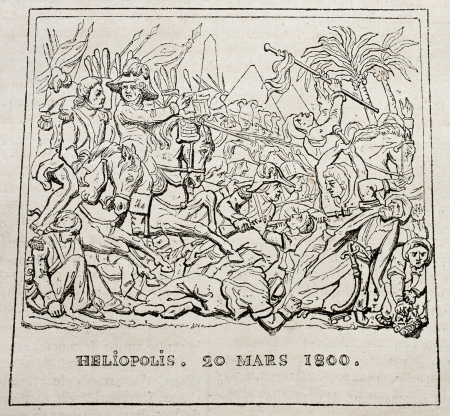 heliopolis: Battle of Heliopolis (20 march 1800) old print. After bas-relief by Grass, published on Magasin Pittoresque, Paris, 1840