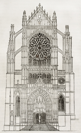 old church: Beauvais cathedral, side portal, old illustration. By unidentified author, published on Magasin Pittoresque, Paris, 1840 Editorial