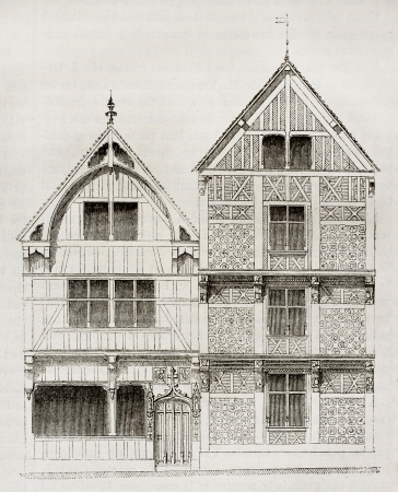 old fashioned sepia: Old  house in Beauvais, France. By unidentified author, published on Magasin Pittoresque, Paris, 1840