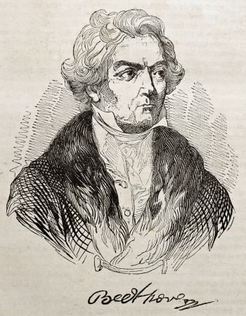 beethoven: Ludwig van Beethowen old engraved portrait and autograph. By unidentified author, published on Magasin Pittoresque, Paris, 1840