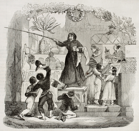 Befana old illustration, Italian folklore figure. By unidentified author, published on Magasin Pittoresque, Paris, 1840.