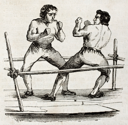 out box: Boxing in 1790. By unidentified author, published on Magasin Pittoresque, Paris, 1840