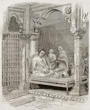 francais: Young Brahmin in temple in Benares, old illustration. Created by Best and Francais after Prinsep. Published on Magasin Pittoresque, Paris, 1840.