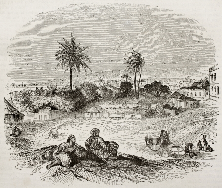 antilles: Bridgetown old view, Barbados. By unidentified author, published on Magasin Pittoresque, Paris, 1840