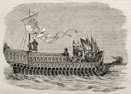 Bucentaur old illustration, the state galley of the doges of Venice. Created by Best and leloir, published on Magasin Pittoresque, Paris, 1840