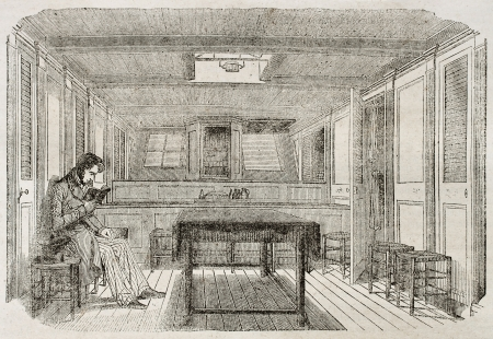 old fashioned sepia: Man reading in the cabin of a merchant brig. By unidentified author, published on Magasin Pittoresque, Paris, 1840