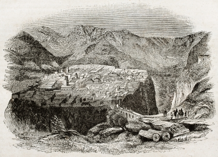 ancestry: Constantine old view, Algeria. By unidentified author, published on Magasin Pittoresque, Paris, 1840