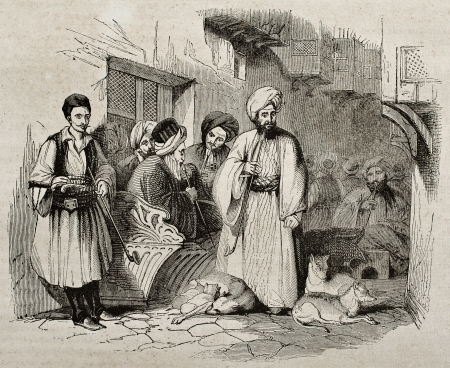 moorish clothing: People in a Constantinople street. By unidentified author, published on Magasin Pittoresque, Paris, 1840 Editorial