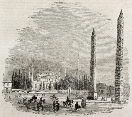 Constantinople hippodrome old view with Theodosius obelisk and Walled obelisk. By unidentified author, published on Magasin Pittoresque, Paris, 1840