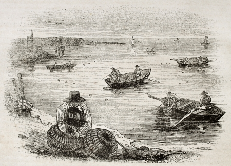 Crab fishers old illustration. By unidentified author, published on Magasin Pittoresque, Paris, 1840