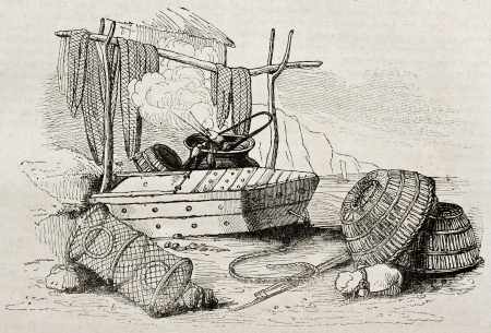 fish net: Crab fishing equipment old illustration. By unidentified author, published on Magasin Pittoresque, Paris, 1840