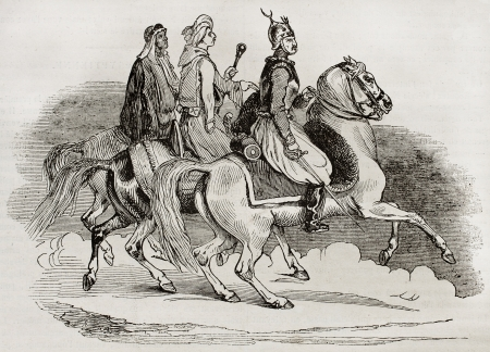 cavalry: Egyptian knights old illustration. Created by Goupil, published on Magasin Pittoresque, Paris, 1840