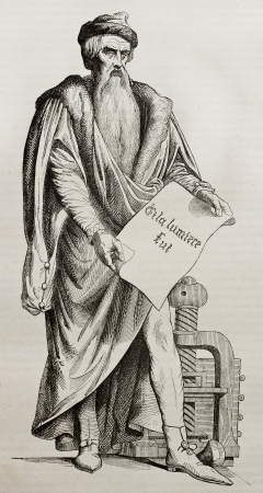 Johannes Gutenberg bronze statue in Strasbourg, old illustration. Sculpted by D'Angers, published on Magasin Pittoresque, Paris, 1840 Éditoriale