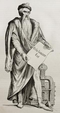 sculpted: Johannes Gutenberg bronzen beeld in Straatsburg, oude illustratie. Gebeeldhouwd door D'Angers, gepubliceerd op Magasin Pittoresque, Parijs, 1840 Redactioneel