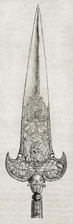 halberd: Halberd blade of Louis XIV Royal Guard. By unidentified author, published on Magasin Pittoresque, Paris, 1840