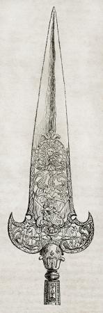 alabarda: Lama Halberd di Luigi XIV Royal Guard. Per autore non identificato, pubblicato il Magasin Pittoresque, Parigi, 1840 Editoriali
