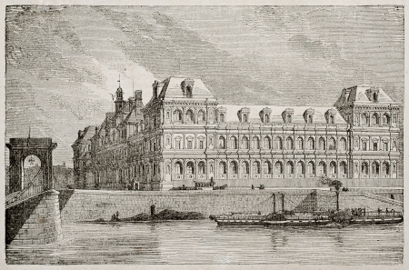Hotel-de-Ville old view from Seine bank, Paris. By unidentified author, published on Magasin Pittoresque, Paris, 1840