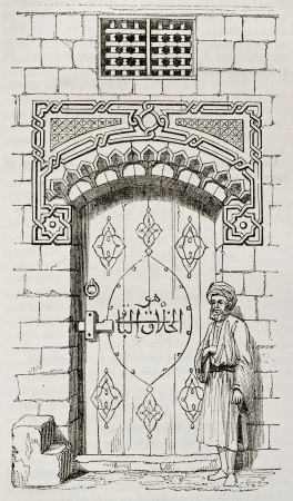 Egyptian house door. By unidentified author, published on Magasin Pittoresque, Paris, 1840 Stock Photo - 15204037