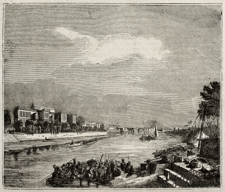 river bank: Ibrahim Pacha Palace old view from the Nile, Cairo. By unidentified author, published on Magasin Pittoresque, Paris, 1840