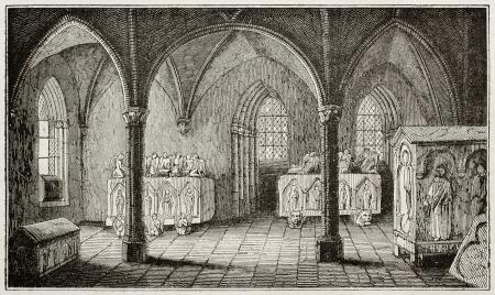 edad media: Inés de Castro tumba en el monasterio de Alcobaça, Portugal. Por autor no identificado, publicado el Magasin Pittoresque, París, 1840