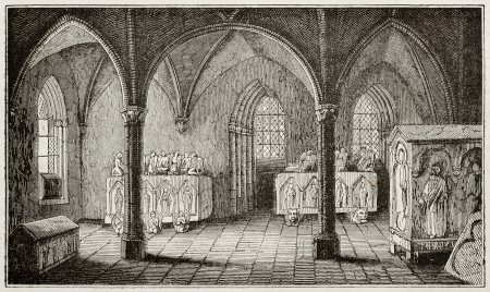 castro: Ines de Castro tomb in Alcobaca monastery, Portugal. By unidentified author, published on Magasin Pittoresque, Paris, 1840