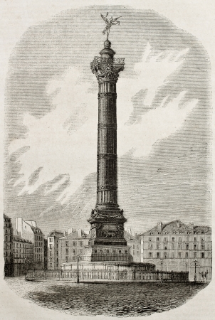 July column old illustration, Place de la Bastille, Paris. By Architect Duc, published on Magasin Pittoresque, Paris, 1840