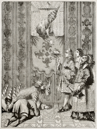 revere: King of Siam and French embassy. Created by Wattier after engraving of 1685 by unknown author. Published on Magasin Pittoresque, Paris, 1840