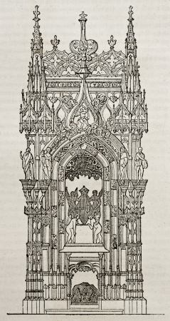 tumbas: Margarita de Austria tumba en el monasterio real de Brou, Francia. Por autor no identificado, publicado el Magasin Pittoresque, París, 1840