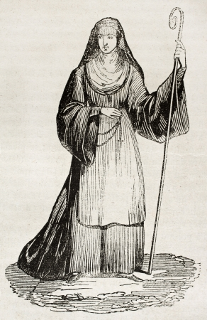 canonical: Medieval Abbess old illustration. By unidentified author, published on Magasin Pittoresque, Paris, 1840