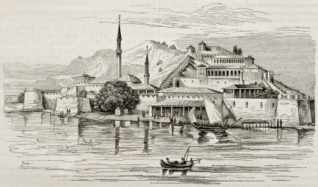 messenia: Methony old view, Messenia, Peloponnese, Greece. By unidentified author, published on Magasin Pittoresque, Paris, 1840 Editorial