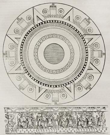 sacrificio: Mexicano piedra sacrificio y bajorrelieve, ilustración edad. Por autor no identificado, publicado el Magasin Pittoresque, París, 1840.