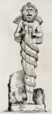 Mithra divinity statue in Vatican library, old illustration. By unidentified author, published on Magasin Pittoresque, Paris, 1840