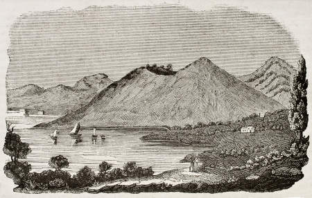Monte Nuovo old view, near Naples, Italy. By unidentified author, published on Magasin Pittoresque, Paris, 1840