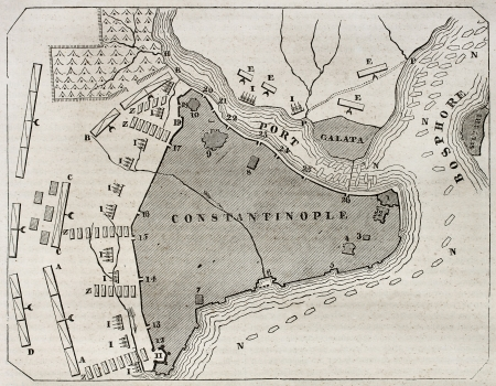 Old plan of Constantinople. By unidentified author, published on Magasin Pittoresque, Paris, 1840 Éditoriale